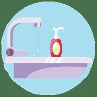 수프 및 알코올 젤 COVID-19 제공